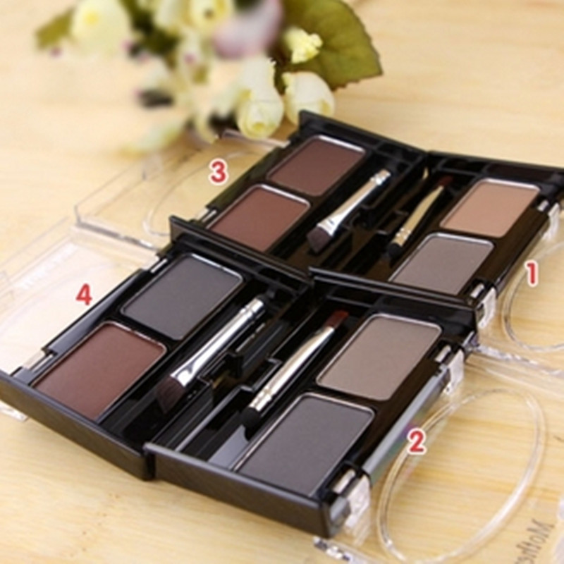 Brand New Waterproof Eyebrow Powder For Women, Eyeshadow Eye Brow With Brush 2 Color Eyebrow Cake Makeup Palette Make Up Set Kit(China (Mainland))