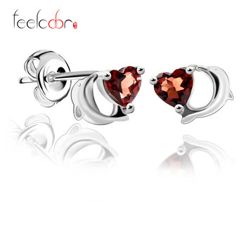 Lovely Dolphin Design Natural Red Garnet Earrings Stud Heart Gemstone Jewelry Genuine 925 Sterling Silver Best Gift For Friend