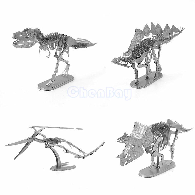 3D Metal Puzzle 3D Laser Cut Model 3D Jigsaw Jurassic Park Dinosaur Skeleton Series Contain Pterosaur/Tyrannosaurus Rex DIY Gift(China (Mainland))
