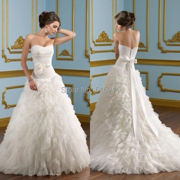Top Sale Tulle Vestidos De Noiva Cascading Ruffles Church Wedding Dress Bow Casamento Hand Craft Garden Bridal Gown Popular(China (Mainland))