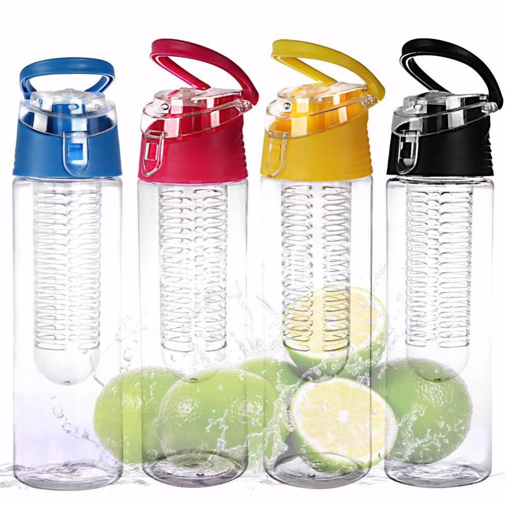 Free Shipping 800ML Fruit Infusing Infuser Water Sports Health Lemon Juice Bottle Flip Lid New(China (Mainland))