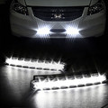 2PCS Universal Car Light Car Fog Lights Super White 8 LED Daytime Running Light 12V DC