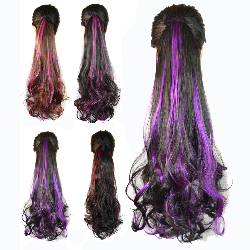 1pcs 45CM Colorful Hair Drawstring Ponytail Hair Clip in Hair Extensions Gradient wave Ombre Ponytail Extensions Free Shipping(China (Mainland))