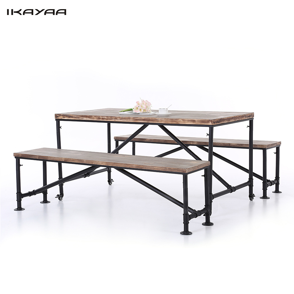US IKAYAA 3PCS Natural Pinewood Top Kitchen Dining Breakfast Table Bench Set Industrial Style Metal Hall Meeting Table Chair Set(China (Mainland))