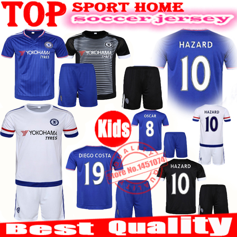 A+++ quality Chelsea Kids 2015 2016 Chelsea Children Soccer Jersey 15/16 HAZARD OSCAR DIEGO COSTA Youth Sets Baby Kits Uniforms(China (Mainland))