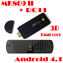 by dhl or ems 20 pieces MK809 II Quad Core TV Stick Box Android 4.1 TV Box Bluetooth Mini PC+RC11 Fly Mouse(China (Mainland))