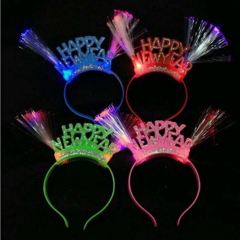 Women Girls Happy New Years Light Up Fiber Headband Led Flashing Blinking Light Fun Party Decoration(China (Mainland))