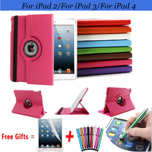 360 Degree Rotating Cover for iPad 2 Cases with Stand Function for iPad 3 Case Multifunctional Smart Cover for iPad 4 Case 10.1'(China (Mainland))
