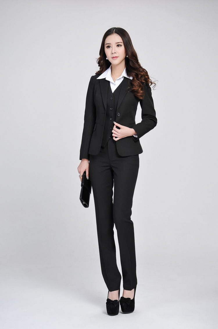 Perfect High Quality Business Women Stripes Pants Suits Formal Slim V Neck Vest With Pants Office Ladies ...