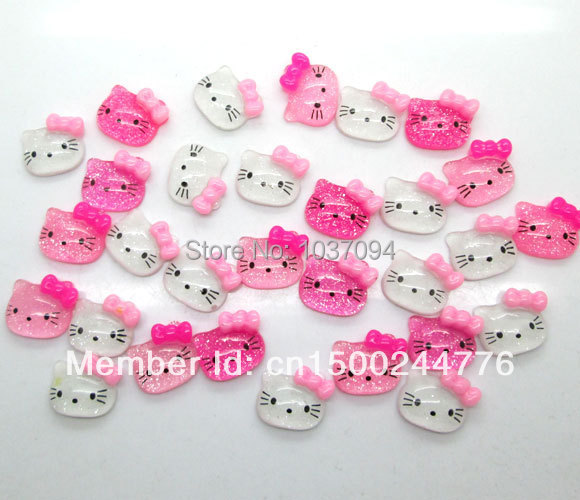100Pcs Resin Kawaii cute cat Cabochons Flatback 15mm Shiny Scrapbook Fit Phone Embellishment summer style(China (Mainland))