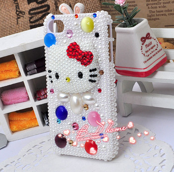 HOT New Big Rhinestone Crystal Hello Kitty DIY cell Phone Case Deco Den Kit for iphone 4 5