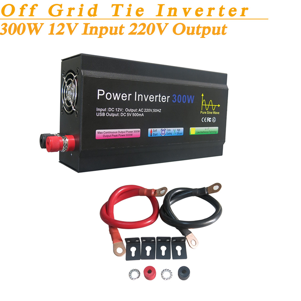 Full Power 300W Off Grid Pure Sine Wave Inverter DC12V Input 220V Output Soft Start High Conversion Efficiency with USB 5V 500mA(China (Mainland))