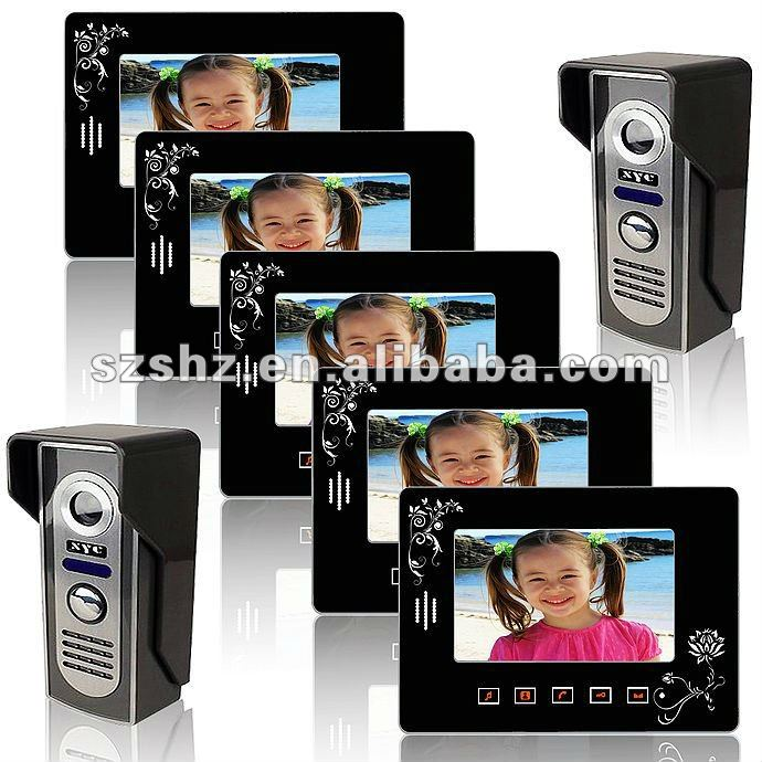 The latest luxury 7'' touch key wired color video door phone 2 to 5, Able to connect with 2 electronic lock(China (Mainland))