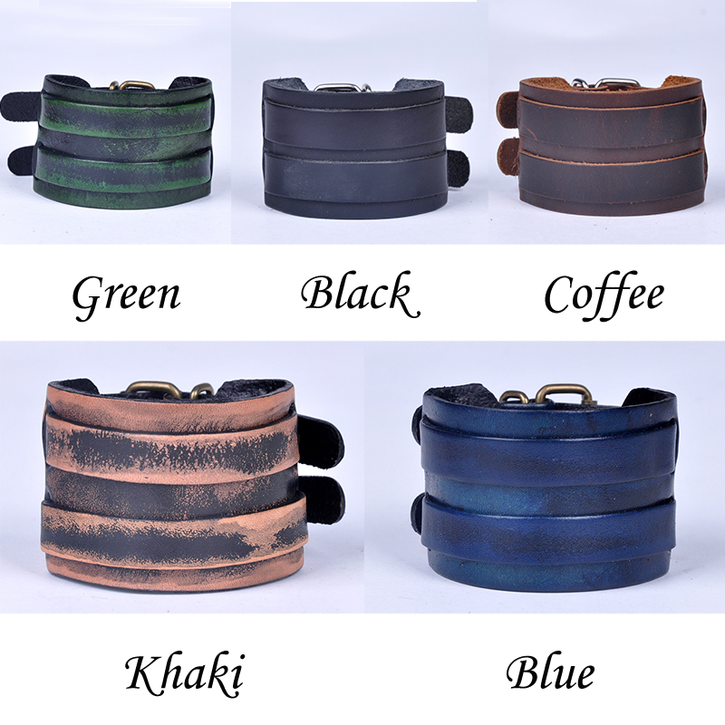 2015 Men Leather Bracelets Wristband Cuff Bangle Best Gift 2 Layers PU Bracelet Belt PSS1082W 75