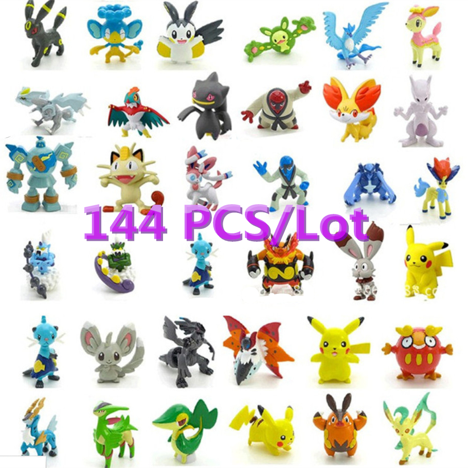 144pcs/lot 2-3cm Pokemon Figures Cute Monster Mini Pikachu Figures Toys Random Brinquedos Collection Anime Kids Gifts Toys #F(China (Mainland))