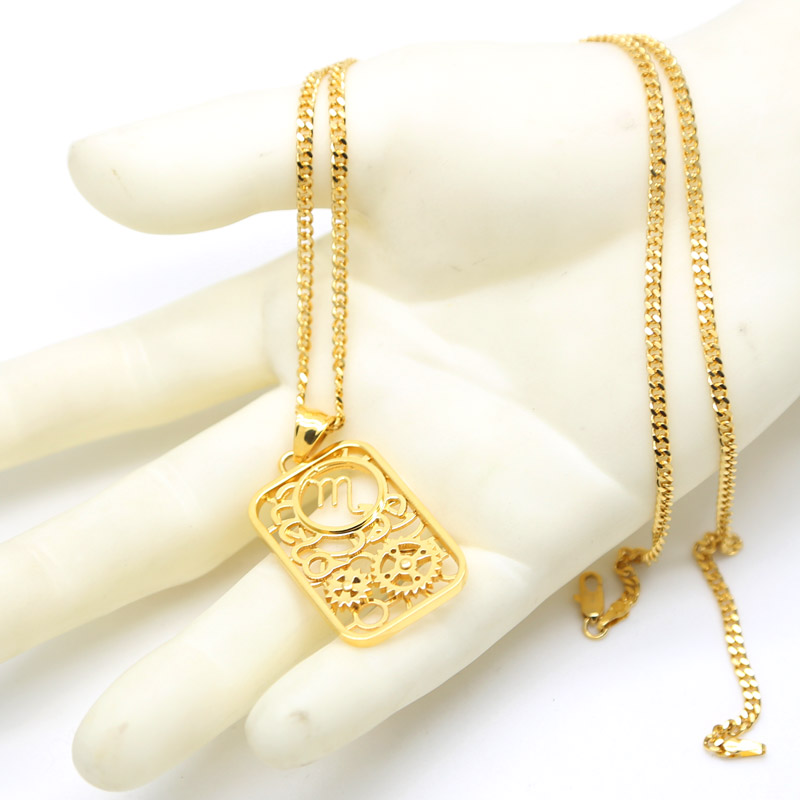 Gold Tone 12 Zodiac Constellation Stainless Steel Pendant Necklace Horoscope Astrology Unisex Necklace Galaxy Star Long Chain(China (Mainland))