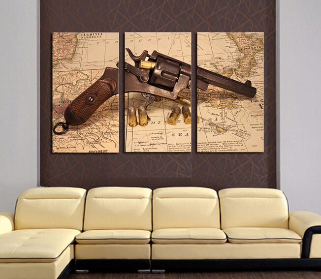 Buy 3 panels the abstract map with gun modern home wall decor painting canvas - Home decor stores mn paint ...