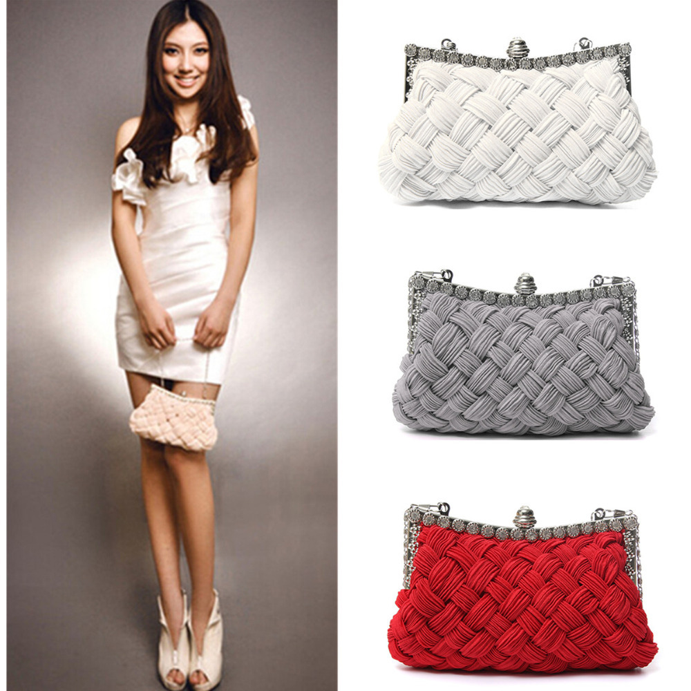 Womens Weaved Satin Party Evening Bag Handbag Wedding Clutch Purse Shoulder Bags(China (Mainland))