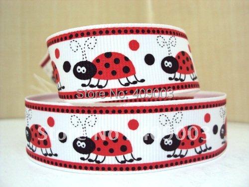 50Y4008 7/8'' cartoon ladybug and dots printed Grosgrain ribbon 50 yards,DIY handmade materials, wedding gift wrap(China (Mainland))