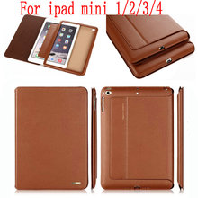 Original Top Quality genuine leather case for ipad mini 1/2/3 full protector cover smart case for ipad mini 4 +free film