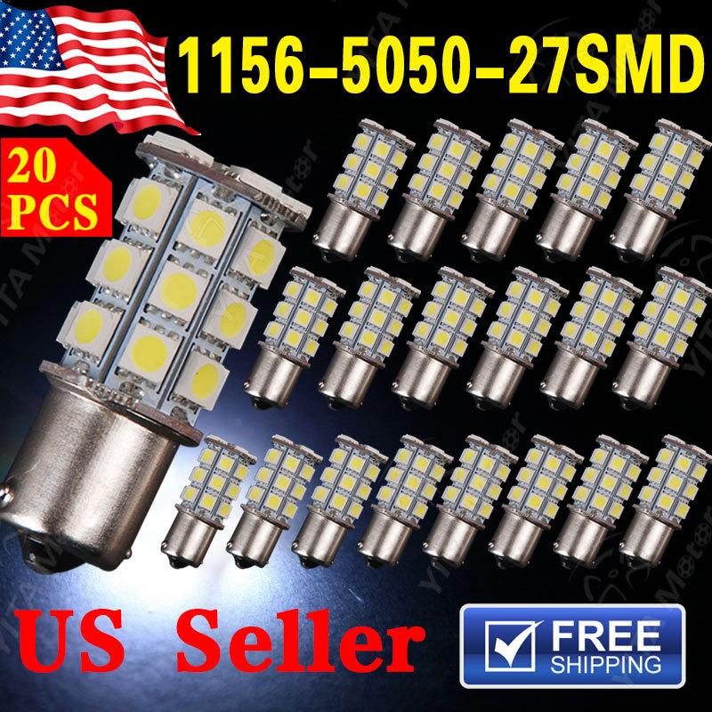 1156 BA15S 27-SMD 1141 5050 27LED Light Lights Bulbs 20pcs/lot White rv Car led Lamp Bulbs Wholesale Price(China (Mainland))