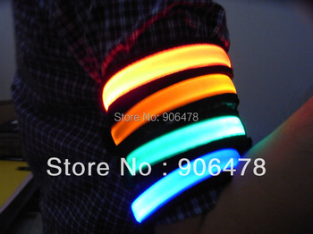 Promotion+Free shipping Roadway Jog/Bicycle safety flashing LED light up Flexible armbands Support 6 Colors for Choice