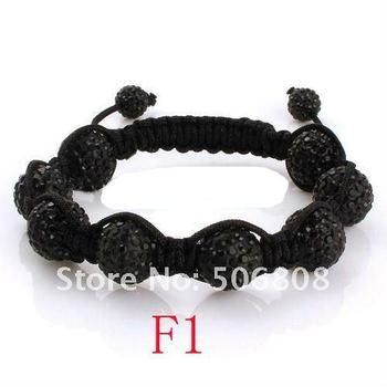 2011 Newest Black Macrame String, Black Crystal Pave Ball Beads, Adjustable Rhinestone Shamballa Bracelets