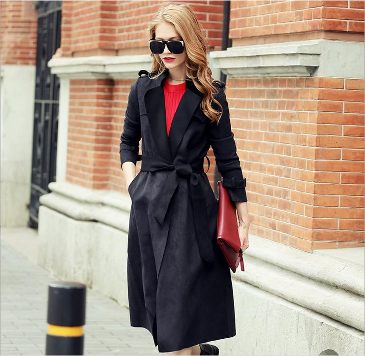 2015 Fall & Winter New Women Long Suede Trench Coat Fashion High-end Brand Turn Down Collar Solid Faux Leather Suede Coat HZZF1