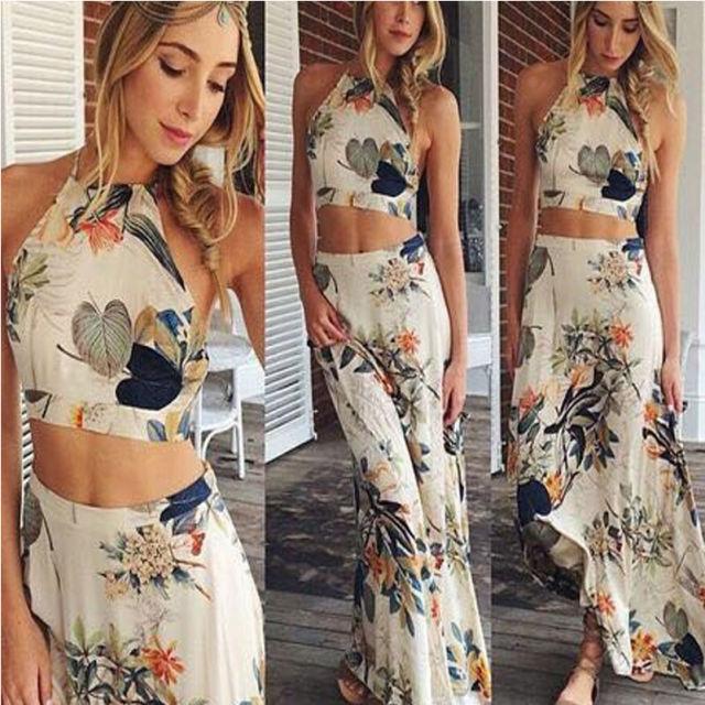 2016 UK Fashion Tropical Leaf Print 2 PIECES Halter Maxi Dress Set Summer Casual Beach Boho Dress(China (Mainland))