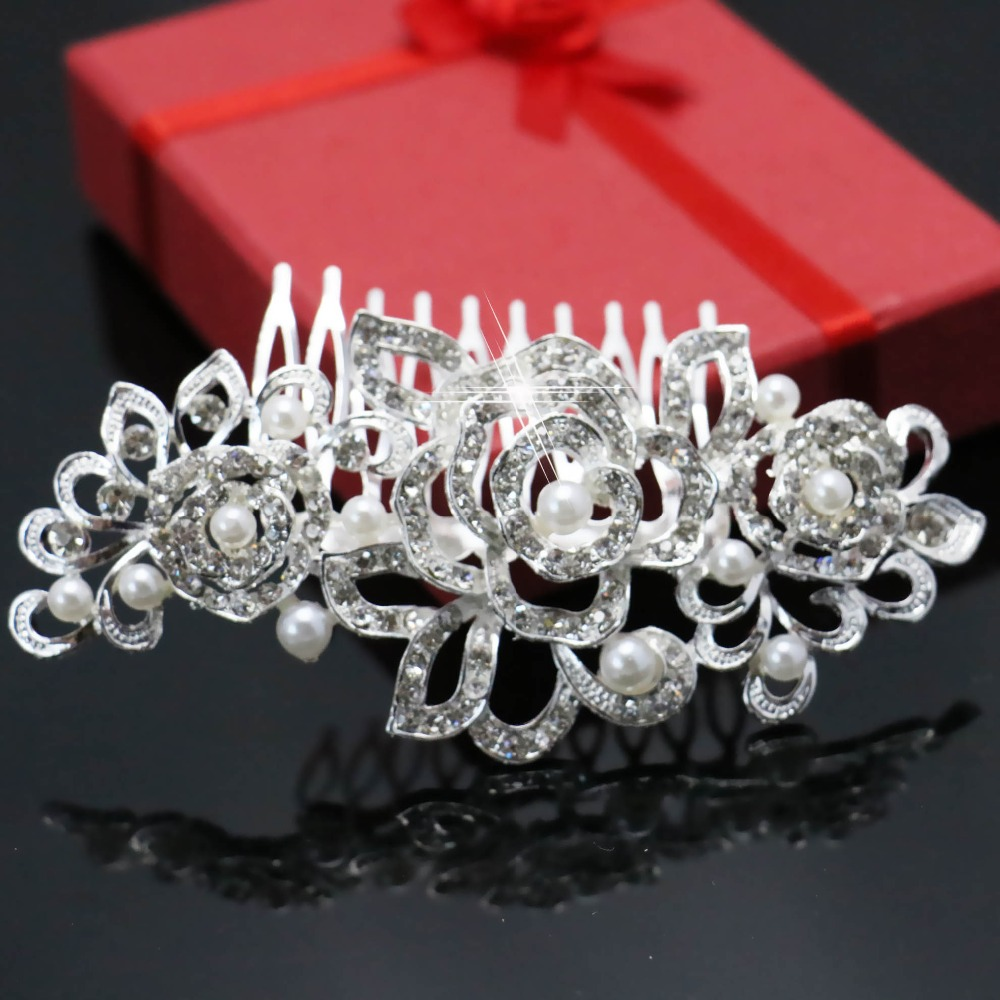 Trendy Bridal Hairwear Women Accessories Wedding Crystal Rhinestone Flower Faux Pearls Hairpins Hair Comb Jewelry Free shipping(China (Mainland))