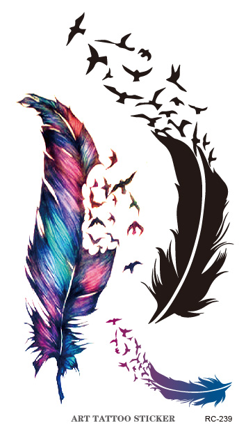 2015 New Flash Tattoo Sticker Colorful Geese Feathers Pattern Body Art Temporary Fake Tattoo Stickers Waterproof Free Shipping(China (Mainland))