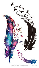2015 New Flash Tattoo Sticker Colorful Geese Feathers Pattern Body Art Temporary Fake Tattoo Stickers Waterproof Free Shipping