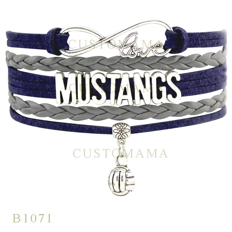 (10 PCS/Lot) Infinity Love Mustangs Volleyball Charm Bracelets For Women Men Jewelry Gray Navy Blue Suede Leather Wrap Bracelets(China (Mainland))