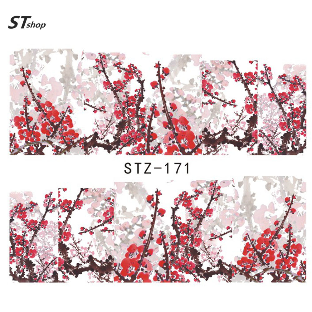 1sheet Watermark Nail Decals Flowers Nail Art Water Transfer Stickers Polish Wraps Nail Art Decor Beauty Manicure Tools STZ-171(China (Mainland))