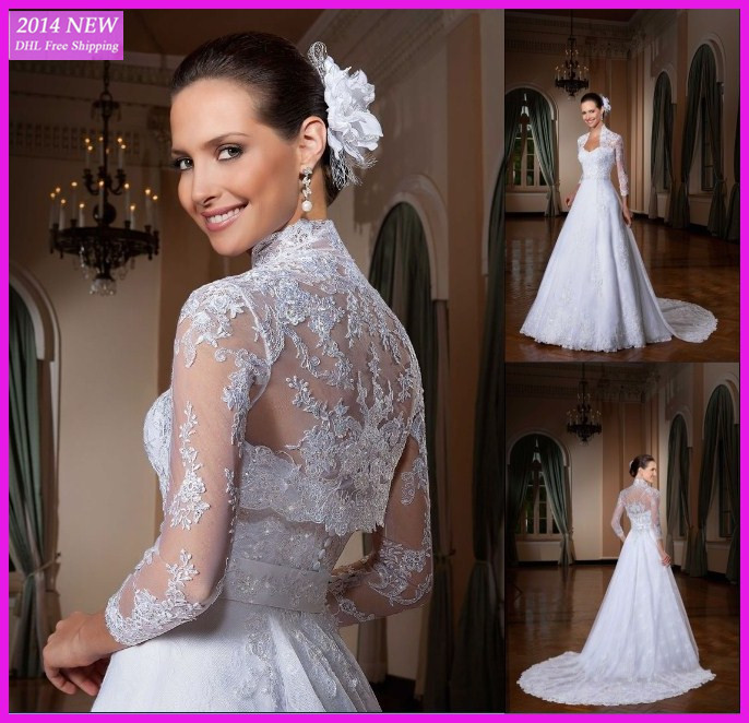 DY-307 White Lace Long Sleeve With Jacket Court Train A-line Wedding Dresses Bridal Gowns Vestido de noiva 2015(China (Mainland))