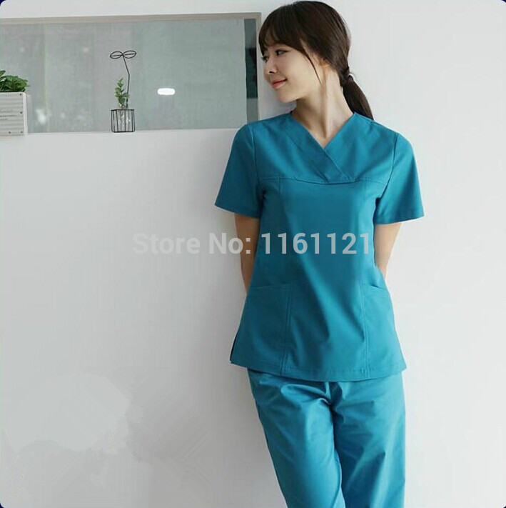 Nurse Uniform Hospital Lab Coat Korea Style Women Hospital Medical Scrub Clothes Uniform Fashion Design Breathable free Shipping(China (Mainland))