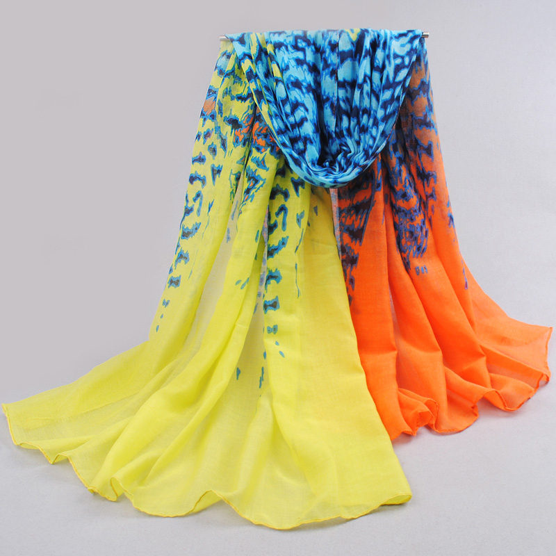 Hot 2014 new Wholesale women 's scarves and shawls fashion Ink and wash scarves hijab cotton voile scarves Free Shipping DF1271(China (Mainland))
