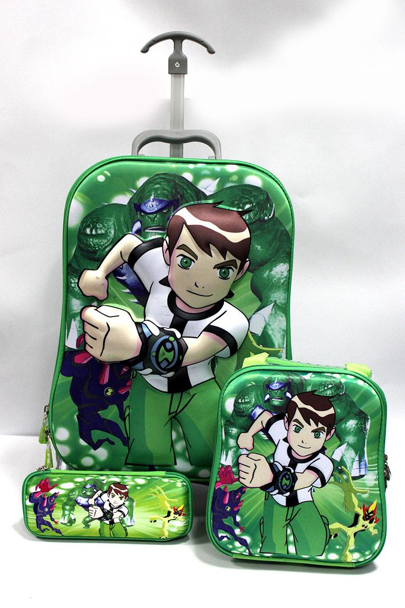 Cute 3D Cartoon Dora 3 Wheels Trolley School Pull rod box set boys Ben10 Mochila Mickey Bags +Lunch Box +Pencil Case