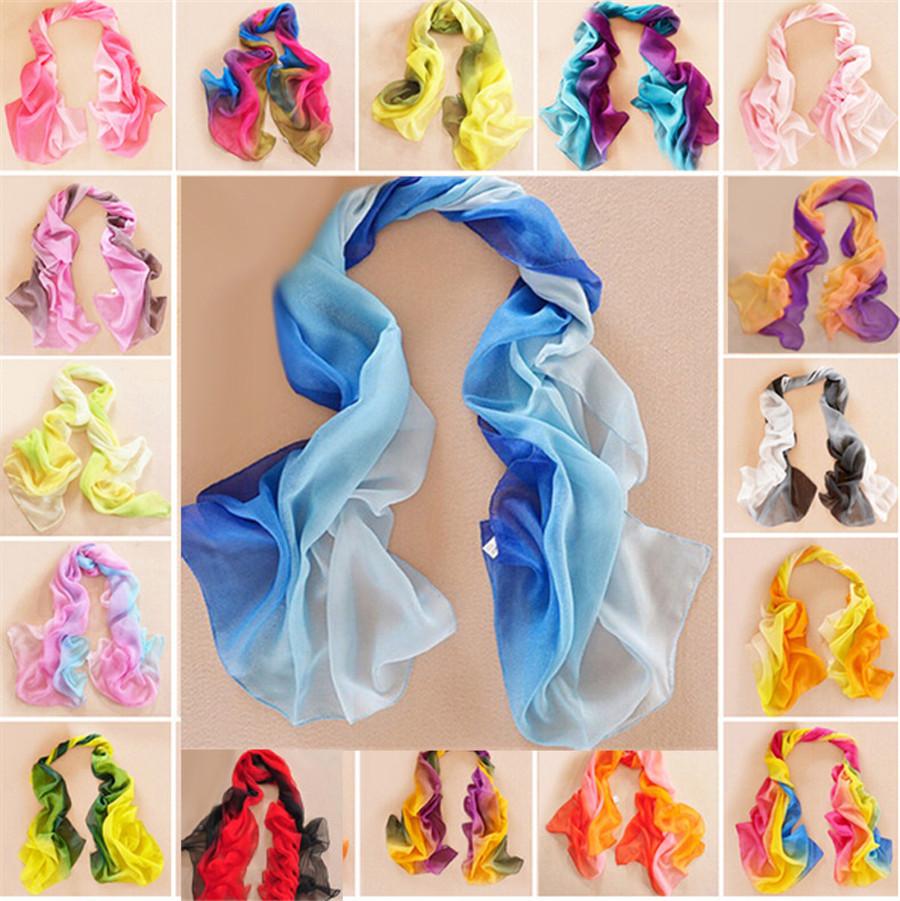 Brand New Female Gradient Colors Scarf Gradual Lady Desigual Bufanda Georgette Chiffon Scarves Shawl Beach Hijab Foulard Women(China (Mainland))