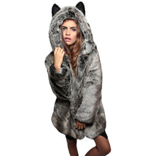 Cute Warm Winter Women Black White Grey Faux Fur Collar Animal Ear Hooded Parka Jacket Coat #81772(China (Mainland))