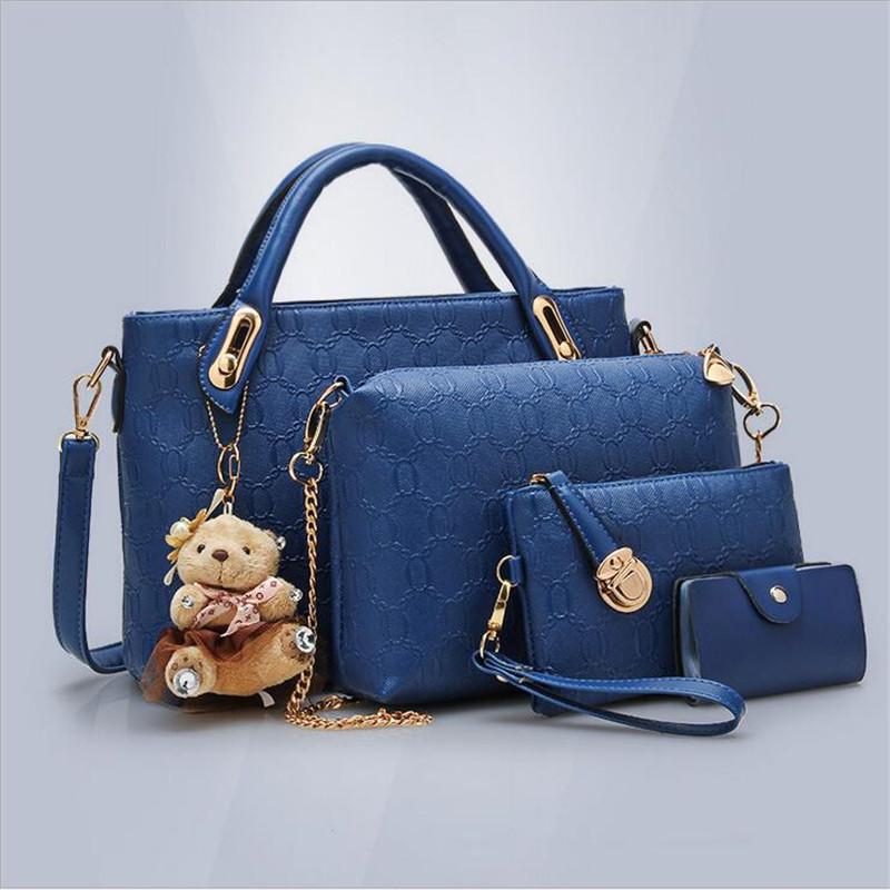 Shoulder Diagonal Bag Handbag Lash Women Package Office Bag Girl Messenger Bag 4 Bags Set Bolsa Feminina Lady Handbag(China (Mainland))