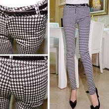 2014 Fashion Ladies High Waist Pencil Pants Casual Black White Plaid Houndstooth Slim Plus Size Leggings Calcas Femininas WKP093(China (Mainland))