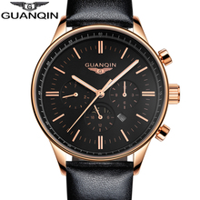 GUANQIN New Luminous Leather Multifunction Watches Belt Fashion Men Quartz Watch Waterproof Male Wristwatches