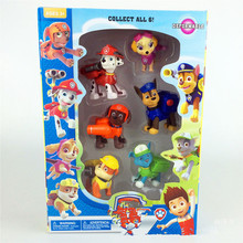 6pcs/lot original packaging 2.5 inch Puppy Patrol Dogs patrulla canina Cartoon toy Movable Joints Doll kids Children toys(China (Mainland))