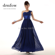 Brand New Mint 2016 New Long Bridesmaid Dresses Wedding One shoulder lace-up Prom Maxi Dress chiffon color royal blue purple red(China (Mainland))