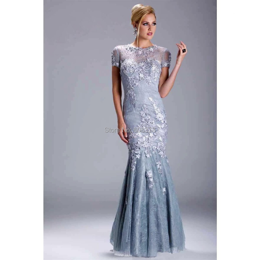 2015 sexy mermaid lace appliques sheer short sleeves for Long dress for wedding mother of the bride