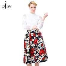 2016 Summer Women Vintage The Fold Print Rose Cotton Waist Knee-Length Skirt S-XL High Quality