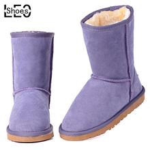 LEO Hombres Mujeres Nieve Botas Hombre Mujer de cuero de Vaca de Invierno Zapatos Calientes Para Hombre Mujer Mediados Botas Genuina Femeninos de Cuero Zapatos de Moda(China (Mainland))