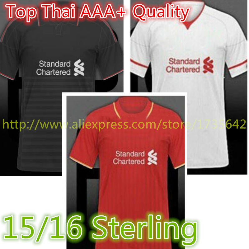 Liverpools Jersey 2015,Top Thai AAA+ Quality 15/16 Liverpools Soccer Jerseys With Premier League Patches Stering Jersey 2016(China (Mainland))