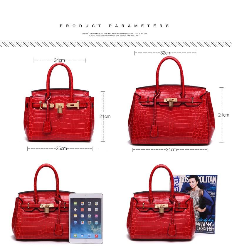 Trendy Luxury Ladies Red Handbag Occident Style Crocodile Printing Designer Top  Quality PU Women Fashion Elegant Shoulder Bag